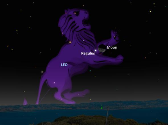 Звездата Регулус маркира сърцето на съзвездието Лъв