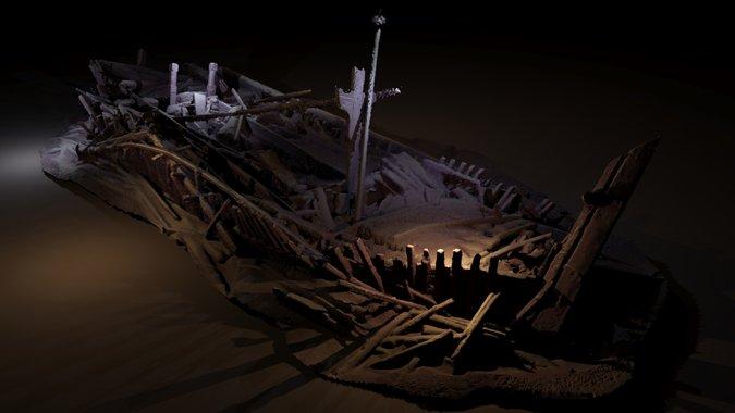 """Фотограметрично изображение на кораб от османската епоха, който най-вероятно е потънал между 17. и 19. век. Откривателите го кръстили """"Цветето на Черно море"""", заради богатата украса от дърворезба, включително две големи греди с венчелистчета."""
