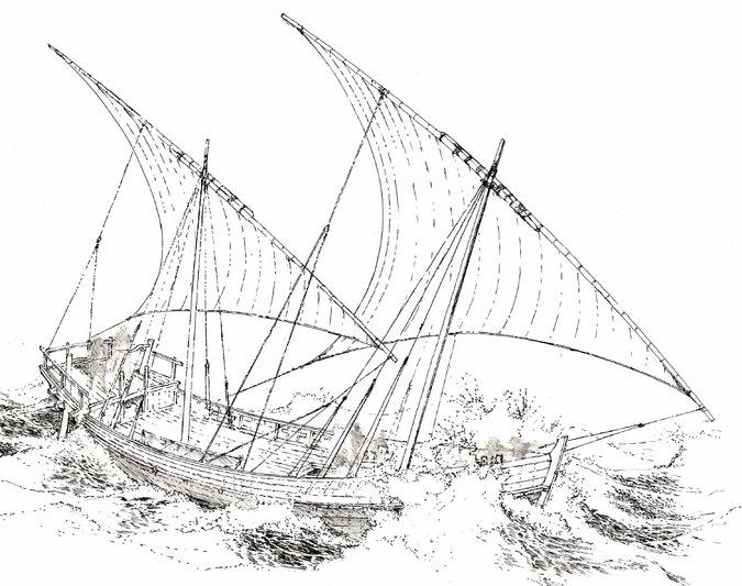 Илюстрация на кораба, открит в Черно море, според начина, по който изследователите вярват, че е изглеждал по време на своя апогей.