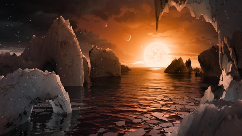 Тази илюстрация показва как би изглеждала повърхността на TRAPPIST-1f, една от новооткритите планети в системата TRAPPIST-1. С помощта на космическия телескоп Спицър и няколко наземни телескопа, учените са открили в системата 7 планети с размерите на Земята. Credits: NASA/JPL-Caltech