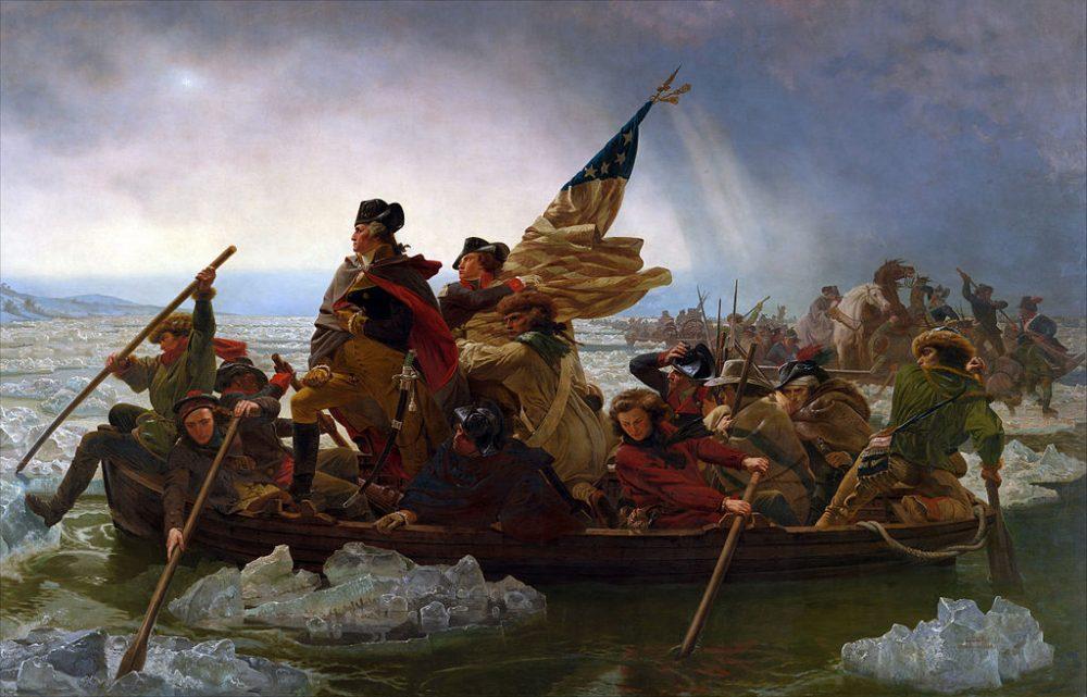 """Емануел Лойце, """"Джордж Вашингтон преминава Делауеър"""" (1851)"""