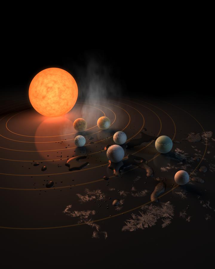 Звездата на TRAPPIST-1, ултрастудено джудже, има седем планети с размерите на Земята. Художествена илюстрация. Credits: NASA/JPL-Caltech