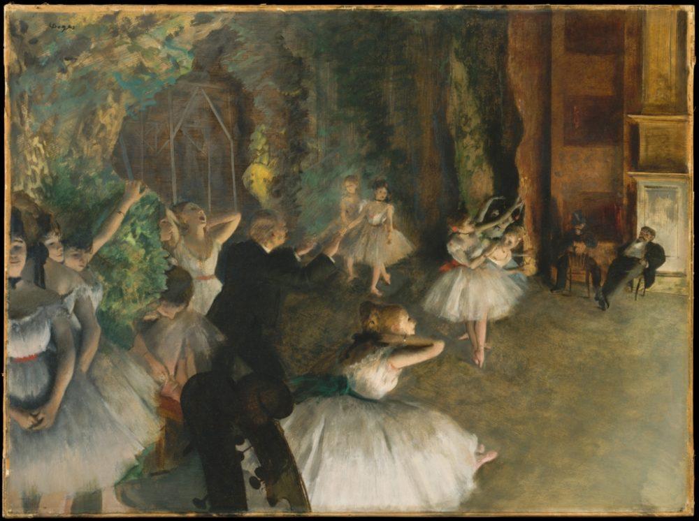 """Едгар Дега, """"Балетна репетиция на сцена"""" (1874)"""