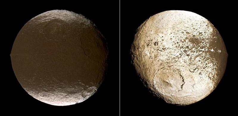 """Необичайната разлика в способността за отразяване на светлина в двете полукълба на Япет, уловена от мисията """"Касини"""" на НАСА. Credit: NASA / JPL / Space Science Institute."""