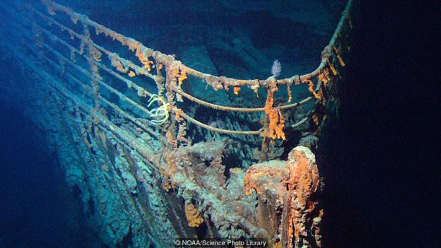 Останките на Титаник на Атлантическото морско дъно. Credit: NOAA/Science Photo Library