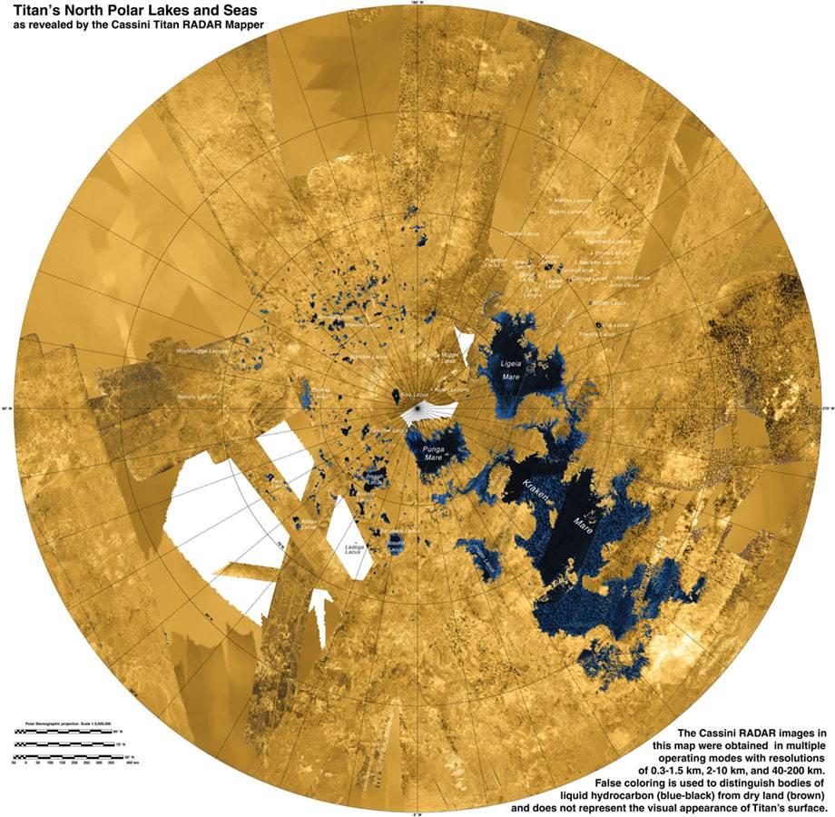 Радарна карта на северния полюс на Титан показва езерата и моретата, съставени от метан и етан. NASA / JPL-Caltech / ASI / USGS