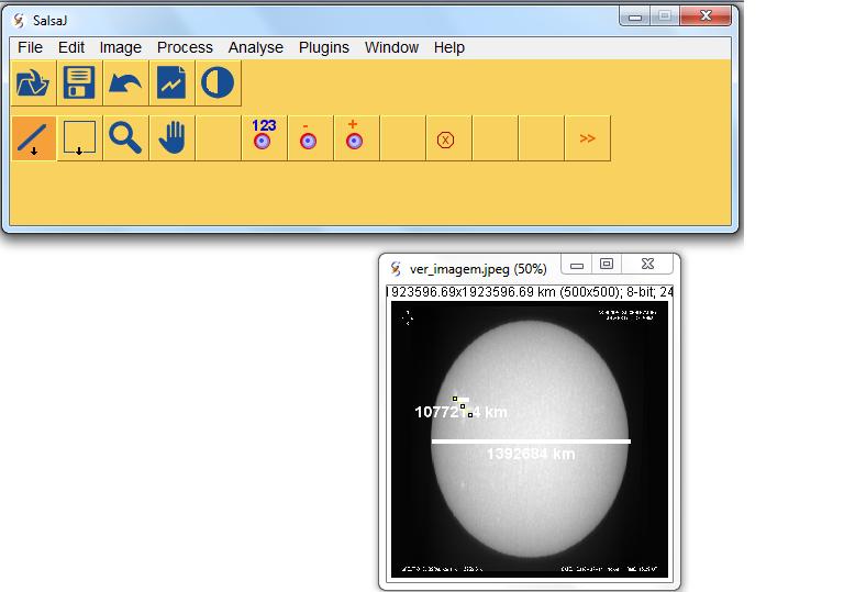 Използване на SalsaJ за измерване на размери на астрономически обекти.