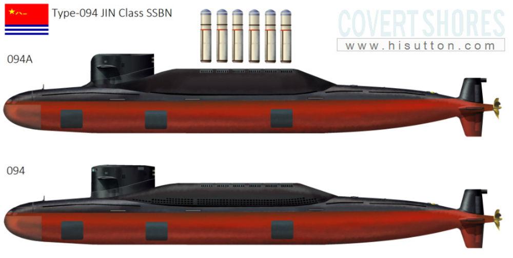 Стара и нова. По-новият модел (горе) Type 094A има повече място за реактивни снаряди и по-безшумни характеристики. Подобрението върху Type 094 е само временна мярка, докато не се появи новото поколение Type 096 SSBN. Credit: Covert Shores