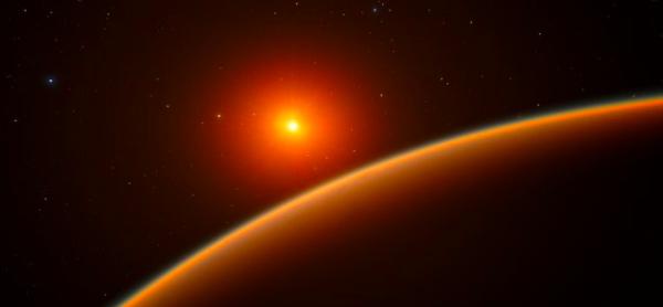 Представата на художник за екзопланетата Супер-Земя LHS 1140b. Credit: ESO