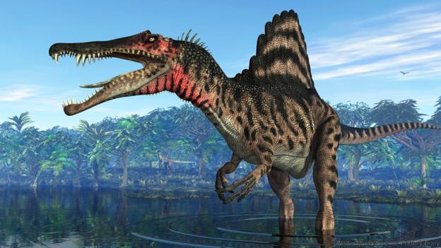 Спинозавърът е единственият познат воден динозавър. Credit: Walter Myers/Science Photo Library