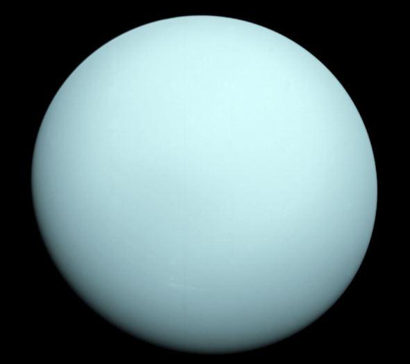 """Уран, видян от """"Вояджър 2"""" Credit: NASA"""