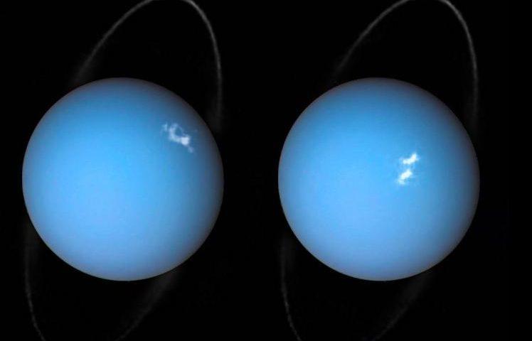 Учени от Парижката обсерватория използвали Космическия телескоп Хъбъл, за да погледнат тези Аврори на Уран. Credit: ESA/Hubble & NASA, L. Lamy / Observatoire de Paris