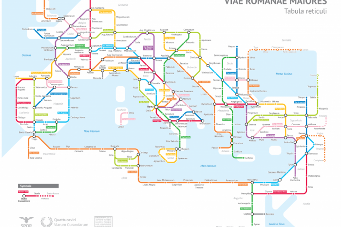 Древна римска система от пътища представена като съвременна карта на маршрута на метрото