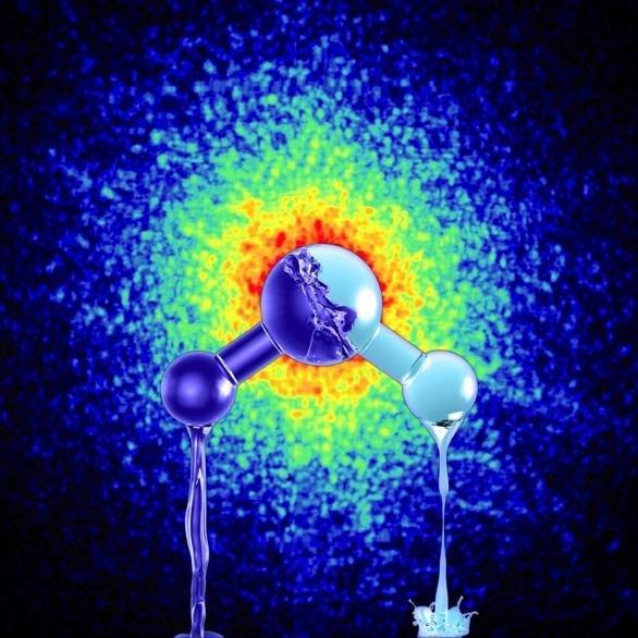 Артистичен поглед към двете форми на ултра-вискозната течна вода с различна плътност. Credit: Mattias Karlén