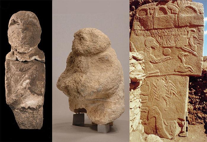"""В ляво: статуя на обезглавен човек; в средата: статуя """"носещия дарове"""". Credit: Dieter Johannes and Klaus Schmidt, Göbekli Tepe Archive, DAI"""