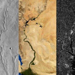 От ляво надясно: речни мрежи на Марс, Земята и Титан. Изследователите съобщават, че Титан, подобно на Марс и за разлика от Земята, не е преминал през активна тектоника на плочите в недалечното си минало. Credit: Benjamin Black/NASA/Visible Earth/JPL/Cassini RADAR team. Adapted from images from NASA Viking, NASA/Visible Earth, and NASA/JPL/Cassini RADAR team