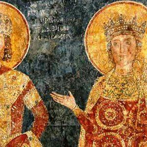 Цар Константин Тих-Асен и царица Ирина. Боянска църква, стенопис.