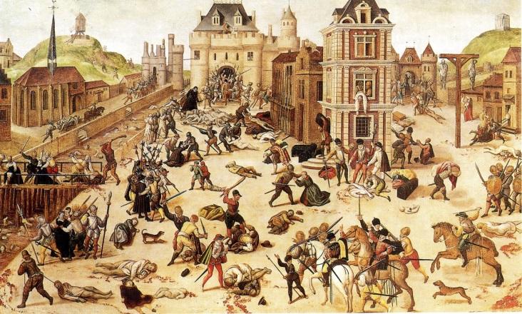 Фигура 3. Разбиване на етническото поле в Западна Европа. Вартоломеевата нощ – тук някой убит, там някой обесен и така, докато жертвите станали милиони.