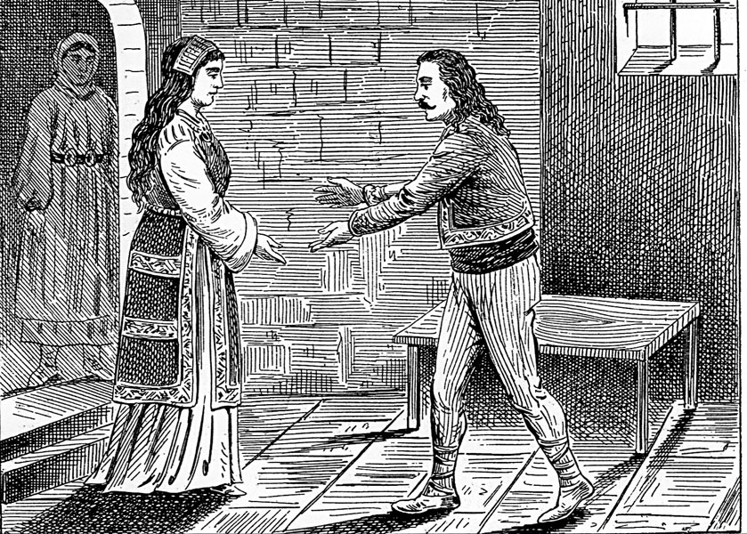 Теодора Косара, се влюбва в сръбския жупан Иван Владимир. Картина от 19. век.