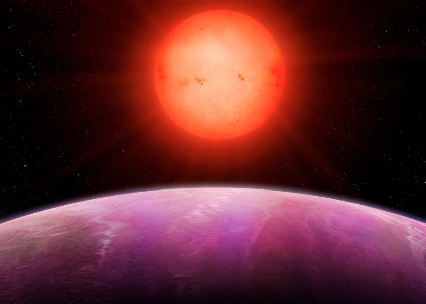 Снимка: Червената звезда над NGTS-1b според виждането на художника. Credit: Университетът Уоруик.