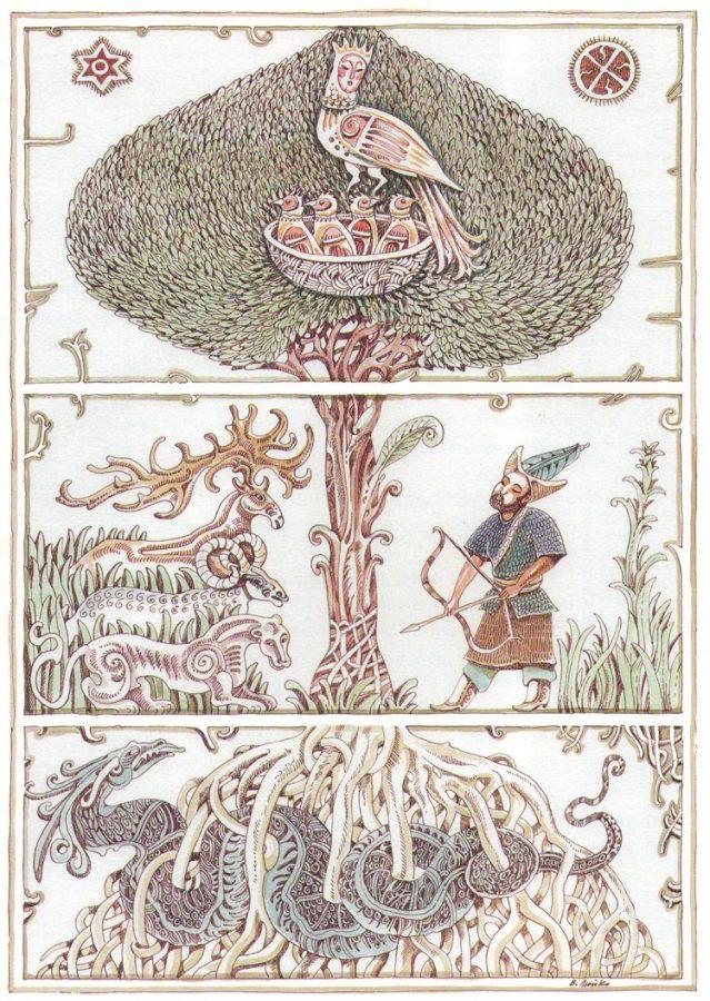 Фиг. 6. Дървото на живота, свързващо горната, средната и долната земя.