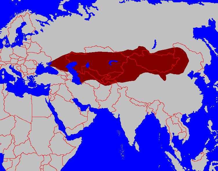 Фиг. 1. Тюркският хаганат (хаганатът на небесните тюрки) – около 600 г. Хаганатът е основан през 552 г. от хан Бумън от рода Ашина. Родът Ашина бил основният род, от който по-късно произлизали хазарските хагани. Имало и конкурентен род. Името на този конкурентен род било Дуло. Ако ви се струва познато, не е случайно. За ваше сведение, родът Дуло е много познат и на унгарците. Но това е друга история. Та, вижда се, че Чингиз хан е имал предшественици 600 години по-рано що се отнася до основаването на огромна държава. С която императорът на Източната Римска империя трябвало много да внимава. И по западните граници на този хаганат по онова време (към шестотната година) били българските племена. А как стигнали дотам, е отделна и много интересна история.