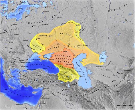 Хазарският хаганат. След 650 г. хазарите, граничещи с българите на запад, започват да набират сила и да изтласкват Велика България на Кубрат. Немалък дял за това има съюзът им с Византия срещу Халифата. Но..., след 70 години хазарите са победени от Халифата и им е наложен ислямът като държавна религия (което не продължава дълго). А Константинопол трябва да го спасяват... българите. На север хазарският хаганат стигал до земите на волжските българи, които около 150 години били васали на хаганата.