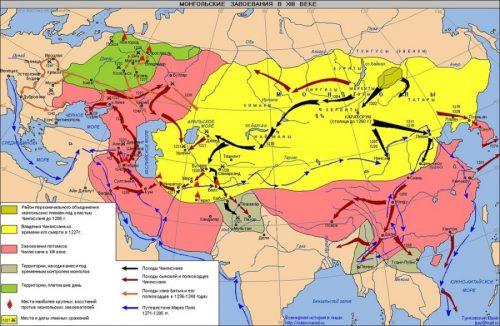 Империята на монголите. Нали виждате в западната част една година 1223 и една армия, дето тръгнала към земите на Волжска България. И била разбита. Овчата битка – българският хан Челбир разбива армията на Чингиз хан.