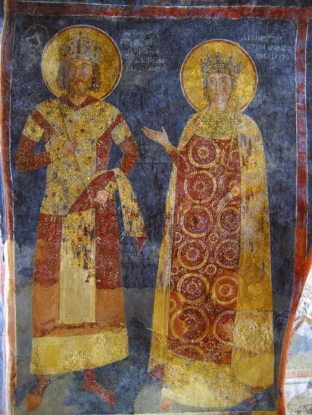 Константин Асен и Ирина, изобразени в Боянската църква
