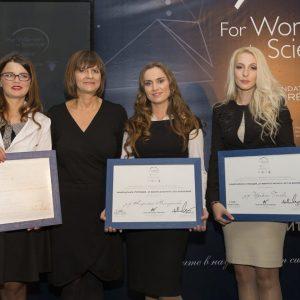 От ляво надясно: Д-р Наталия Берберова-Бухова, Бриджит Стрелър – генерален мениджър на L'Oréal България, д-р Кирилка Младенова, д-р Изабела Генова