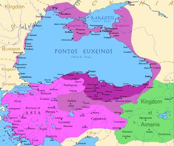 Фигура 2. Царството на Митридат. Тъмно виолетово – размер на царството при възкачване на Митридат на трона. Светло виолетово – територии, завоювани от Митридат в началото на бойните действия с Рим. Митридат се мислел за Александър Македонски. Но нямал късмет. Насреща му бил не Дарий, а най-могъщият римски генерал – Луций Корнелий Сула. Който напердашил и Митридат, и гърците, и всички римски армии, дръзнали да се изправят срещу него. Но за това по-долу.