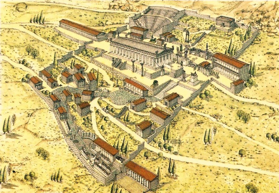 Фигура 5. Делфи – храмът на Аполон. Оракулите направили каквото могли, но Сула разчитал на по-голям началник – Венера (Хера). Зевс си мълчал, вероятно защото храмът му в Додона бил осквернен. И тъй храмовите злато и сребро попаднали при Сула, който веднага ги превърнал в златни и сребърни монети.