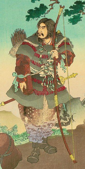 Фиг. 1 Първият император Джиму. Легендата разказва, че с него от небето слезли и главите на няколко рода, като Мононобе, например. Всички тези човеци били ками (божествени).