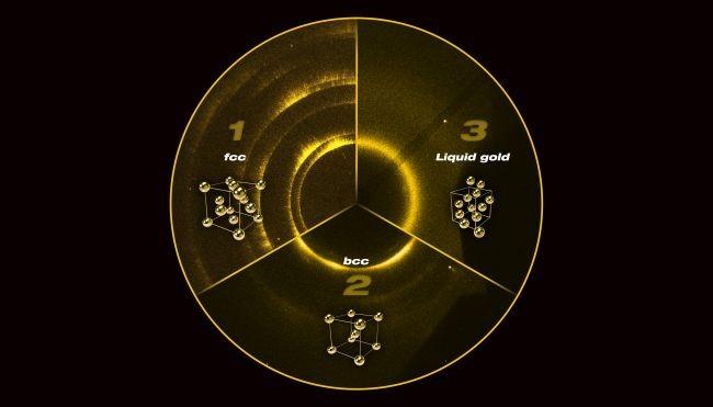 За да разберат структурата на златото при екстремни условия, учените облъчили златото с рентгенови лъчи и засекли къде се отблъскват (сигналите за различните структури може да се видят на снимката). Източник на снимката: © Lawrence Livermore National Laboratory
