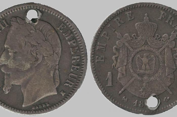 Сребърни монети на Наполеон III от български накити