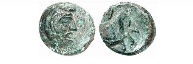 Бронзова монета на персийският сатрап Спитридат от района на град Бургас