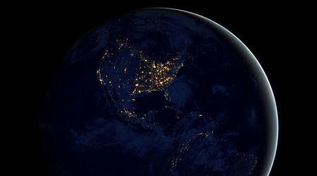 Земята през нощта.